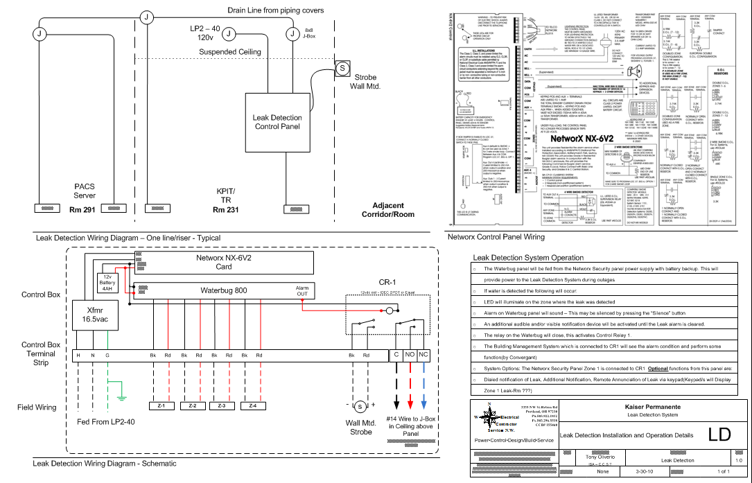 electrical power and control design   tony oliverioleak detection system   one line riser and wiring diagram
